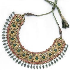 Southern India   Necklace; gold, emerald, ruby, diamond and enamel. 20th century.