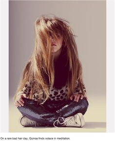 On a rare bad hair day, Quinoa finds solace in meditation. Rapunzel, Kids Mode, Well Dressed Kids, Kids Inspire, Stylish Kids, Kid Styles, Hair Day, Bad Hair, Poses