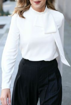 tie neck bow blouse, pinstripe wide leg pleated trouser pants, nars deep red lip, modern everlane black loafers   work wear, office style