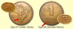 Moeda brasileira de 1 cruzeiro de 1943 reverso mapa do Brasil. Nesta foto aparece a legenda das siglas que aparecem em algumas moedas da época.