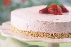 Crushed pretzels make the perfect crust for this luscious margarita-like strawberry cream pie. Note: No tequila, no triple sec required!