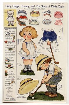 Vintage DOLLY DINGLE, TOMMY, AND THE STORY OF KITTY CUTIE paper dolls 1922 golf+ | eBay