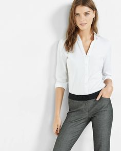 Express fitted long sleeve essential shirt bodysuit, $54.90