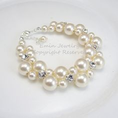 Pearl Bridal Bracelet, Chunky Wedding Bracelet, Rhinestone Pearl Bracelet. Swarovski Bridal Jewelry, Bridesmaids Bracelet on Etsy, $47.62 CAD