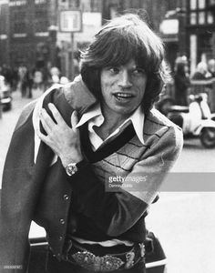 'The Rolling Stones' lead singer Mick Jagger pictured arriving at Marlborough Street Court, where his girlfriend Anita Pallenberg and band member Keith Richards are facing charges of drug possession and possession of a shotgun, London, October 24th 1973.