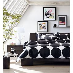 Crate Barrel Marimekko Kivet King Duvet Cover Black White Large Dot Modern New King Beds, Queen Beds, King Duvet, Queen Duvet, Marimekko, Bed Shelves, Shelf, Black Bed Linen, Headboards For Beds