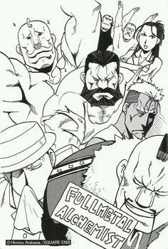 "Side favorites I love how Heinkel and Darius are way in that back like, ""we're… Manga Art, Manga Anime, Noragami, Elric Brothers, 鋼の錬金術師 Fullmetal Alchemist, Hiromu Arakawa, Vocaloid, Naruto Minato, Alphonse Elric"