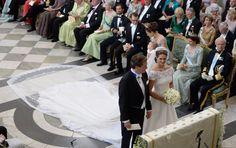 Princess Madeleine of Sweden in a wedding dress designed Valentino Garavani