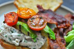 BLT Chicken Salad with Basil and Grilled Avocado