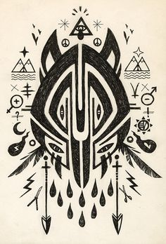 drawing, wolf, animals, geometric, arrows, feathers, tribal, patterns, prints