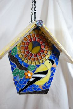 RESERVED for Linda, Birdhouse Stained Glass Mosaic Goldfinch This stained glass mosaic bird house ca Mosaic Crafts, Mosaic Projects, Mosaic Art, Mosaic Glass, Stained Glass, Bird Houses Painted, Bird Houses Diy, Glass Garden Art, Mosaic Garden