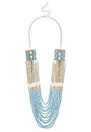 layered drape necklace with blue, white, and metallic beads - maurices.com
