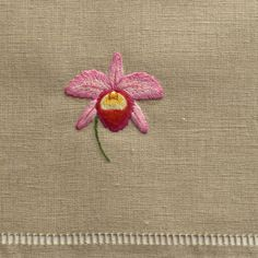 Hand embroidered towel on 100% linen, finished and hemstitched by hand. •One Hand Towel •16 x 24 inches. •Hand wash or machine wash on gentle cycle, tumble dry on low heat until damp, line dry, iron on reverse for traditional finish. •Ships from Portland, Oregon. •Imported. •$35