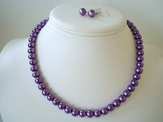 Beaded Jewelry On sale-$12.00 -Single Strand Dark Purple Pearl Beaded Necklace and Earring Set Great Brides or Bridesmaid Gifts