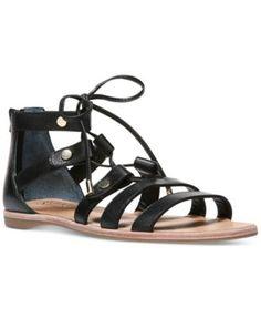745ce68eb8f Franco Sarto Baxter Lace-Up Flat Sandals - Sandals - Shoes - Macy s Black  Gladiator