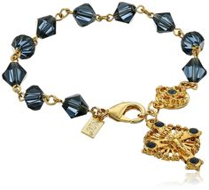 Symbols of Faith 'Inspirations' 14k Gold-Dipped Blue Bead Windows to Heaven Rosary Crucifix Charm Bracelet, 7' >>> Read more  at the image link.