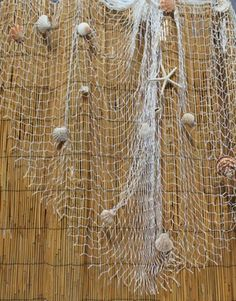 White Decorative Fish Net With Seashells - Nautical & Surf Decor  But for the ceiling!