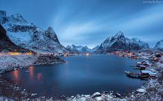 Jezioro, Góry, Domy, Osada, Norwegia, Zima