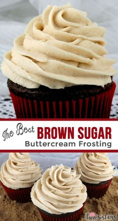 The Best Brown Sugar Buttercream Frosting a unique take on a traditional butter cream frosting Rich creamy and delicious with a hint of caramel It is very delicious so e. Frost Cupcakes, Köstliche Desserts, Delicious Desserts, French Desserts, Plated Desserts, Chocolate Chip Cookies, Frosting For Chocolate Cupcakes, Strawberry Buttercream Frosting, Mocha Cupcakes