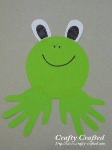 handprint crafts - Bing Images Use finger paints on canvas to make handprint frog to hang in frog bathroom Preschool Crafts, Crafts For Kids, Arts And Crafts, Daycare Crafts, Toddler Crafts, Frog Crafts, Footprint Crafts, Handprint Art, Animal Crafts