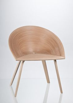 Anna Štěpánková - Tamashii chair,  a dining chair inspired by a Japanese veneer technique called Bunaco.