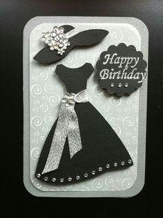 Blingy Birthday dress Card and Cricut Forever Young Birthday Cards For Women, Handmade Birthday Cards, Happy Birthday Cards, Greeting Cards Handmade, Cricut Birthday Cards, Card Birthday, Diy Birthday, Cricut Cards, Stampin Up Cards