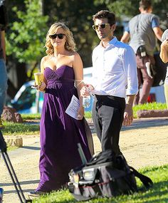 Just another day at the office! Amy Poehler and Adam Scott got back to work the day after the Emmys, shooting new scenes for Parks and Recreation.