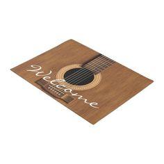 Warm Wood Acoustic Guitar Doormat Gift For Music Lover, Music Lovers, Music Teacher Gifts, Guitar Players, Personalized Door Mats, Outdoor Areas, Toolbox, Doormat, Artwork Design