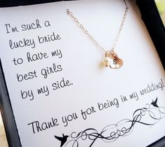 Personalized Bridesmaid gifts, Bridesmaid necklace set, Maid of Honor Gift, Bridesmaid thank you, initial necklace with freshwater pearl, $26.00