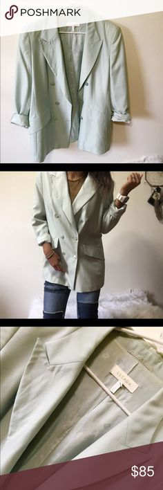 Escada🔹Mint Green Blazer This Blazer is super chic, but comfortable at the same time. Bust:42in the material is 75% wool, 15% silk & 10% Mohair. The Blazer has a light stain that is barely noticeable will have picture posted. Escada Jackets & Coats Blazers