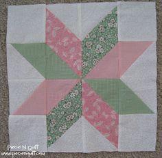 Piece N Quilt: Star Flower Quilt Block Tutorial For star Block Swap (black/white/pink)