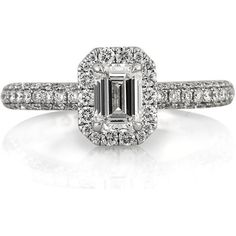 Mark Broumand 1.56ct Emerald Cut Diamond Engagement Ring (6,605 CAD) ❤ liked on Polyvore featuring jewelry, rings, white, clear nose ring, engagement rings, emerald cut diamond ring, 18 karat gold ring and white gold rings