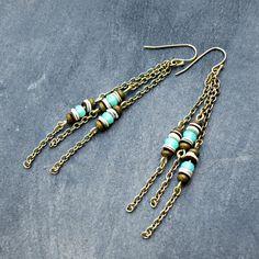 Seafoam Green Chain Fringe Earrings, Hippie Boho Earrings, Shoulder Dusters, Blue Fringe, Long Earrings, Shell Jewelry, Gypsy Earrings on Etsy, $26.00