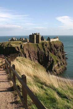 Path to Dunnottar Castle, Scotland.