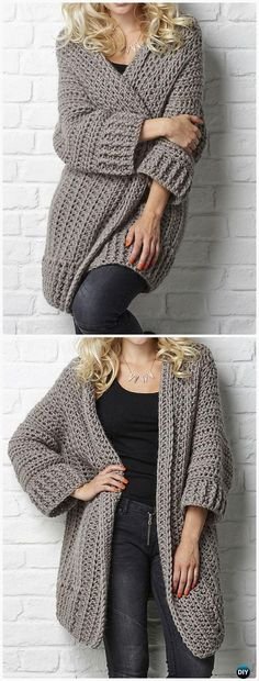 Crochet Big Chill cardigan Pattern - #Crochet Women Sweater Coat-Cardigan Free Patterns