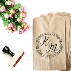 Wedding Logo Stamp - Cookie Favor Bag - Custom Wedding Stamp - Wedding Favor Bag - Sweets Table Bag - Custom Stamp - Couples Initials Wreath by SouthernPaperAndInk on Etsy