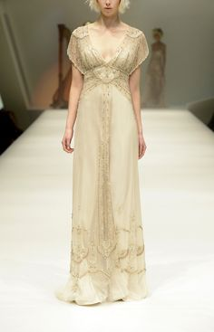 Gwendolynne, Spring 2015. Australian designer Gwendolynne created this design which draws inspiration from fashion of the late 1910s. The ruffled sleeves and intricate details (such as beading) are also evident in early 20th century designs.1.27.15