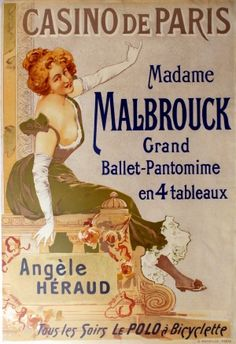 Casino de Paris Madame Malbrouck, 1898 - original antique poster by Lumereau listed on AntikBar.co.uk