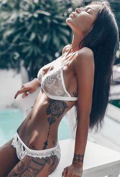 Romantic And Sexy Honeymoon Lingerie Ideas ★ honeymoon lingerie white lingerie set gooseberryintimates Hot Tattoo Girls, Tattoed Girls, Inked Girls, Tattoed Women, Honeymoon Lingerie, Wedding Lingerie, Sexy Tattoos, Girl Tattoos, Tatoos