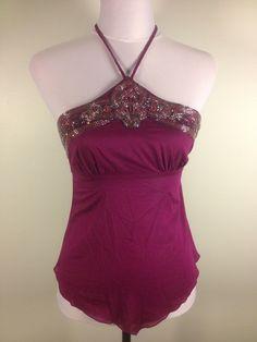 #BEBE Purple Beaded Tie Neck Halter #Top With Pointed Hem & Side Zip. $18.99 at dodiesdoodads.com. #fashion