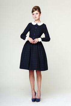 Peter pan collar dress wool dress Long sleeve dress plaid dress Ladies dresses Made to order dress XS M L XL and Plus size Look Vintage, Vintage Mode, Vintage Style Dresses, 50s Dresses, Pretty Dresses, Blue Dresses, Fashion Dresses, Vintage Stil, Dress Vintage