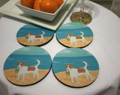 Set of 4 Jack Russell Terrier Beach Coasters