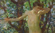 Half Length Study of a Boy  :  Henry Scott Tuke  :  1909 #Impressionism