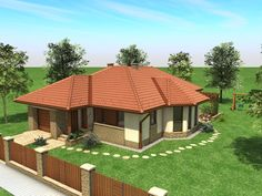 House plan of three bed room and sitting room Modern Backyard Design, Rooftop Design, Simple House Design, Patio Design, Village House Design, Kerala House Design, Village Houses, Bungalow Floor Plans, Modern Bungalow House