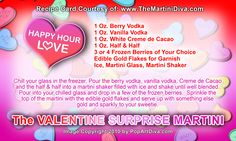 VALENTINE SURPRISE MARTINI - A Berry & Chocolate Cocktail - Click image for the free, full sized recipe card and some Valentine Trivia.