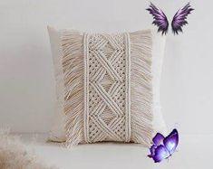 Macrame Pillow / Throw Pillow / Decorative Pillow / Modern | Etsy  <br> Decorative Pillows, Macrame, Throw Pillows, Decoration, Modern, Etsy, Ideas, Decorative Throw Pillows, Decor