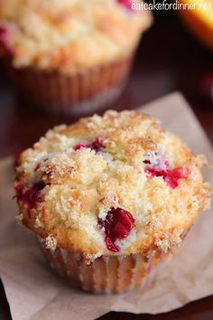 Cranberries - love them or hate them? This was my first time ever baking with cranberries and I thought the results turned out great. The tart berry mixed with the sweet muffins was a great combo.