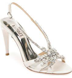 Jewel Badgley Mischka Jacqueline Crystal Embellished Sandal Bridal Heels, Embellished Sandals, Slingback Sandal, Badgley Mischka, Wedding Shoes, Stiletto Heels, Pumps, Jewels