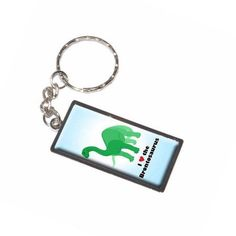 I Love Heart Brontosaurus Dinosaur Long Neck Blue Background Keychain Key Chain Ring, Silver