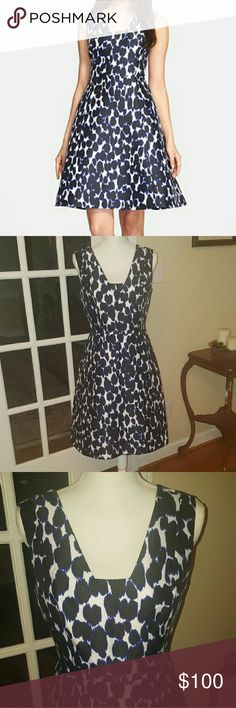 KATE SPADE leopard print dress size 6 Gorgeous Kate spade semi formal dress.  Absolutely no signs of wear anywhere.  Size 6. Inside is lined.  Zips at the side. Figure flattering.  Dark navy spot pattern. kate spade Dresses Mini